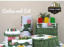 Kitchen Set Cover Cactus And Cat